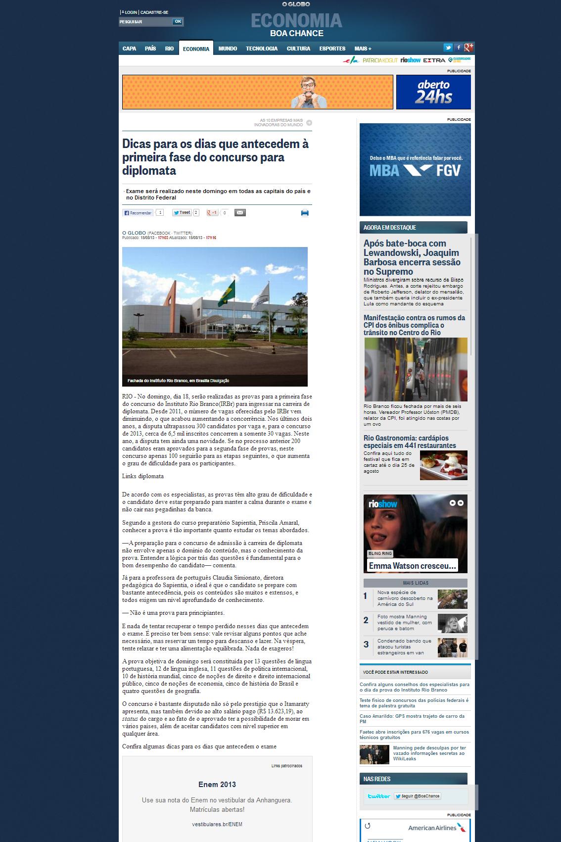 O Globo online 15 agosto 2013