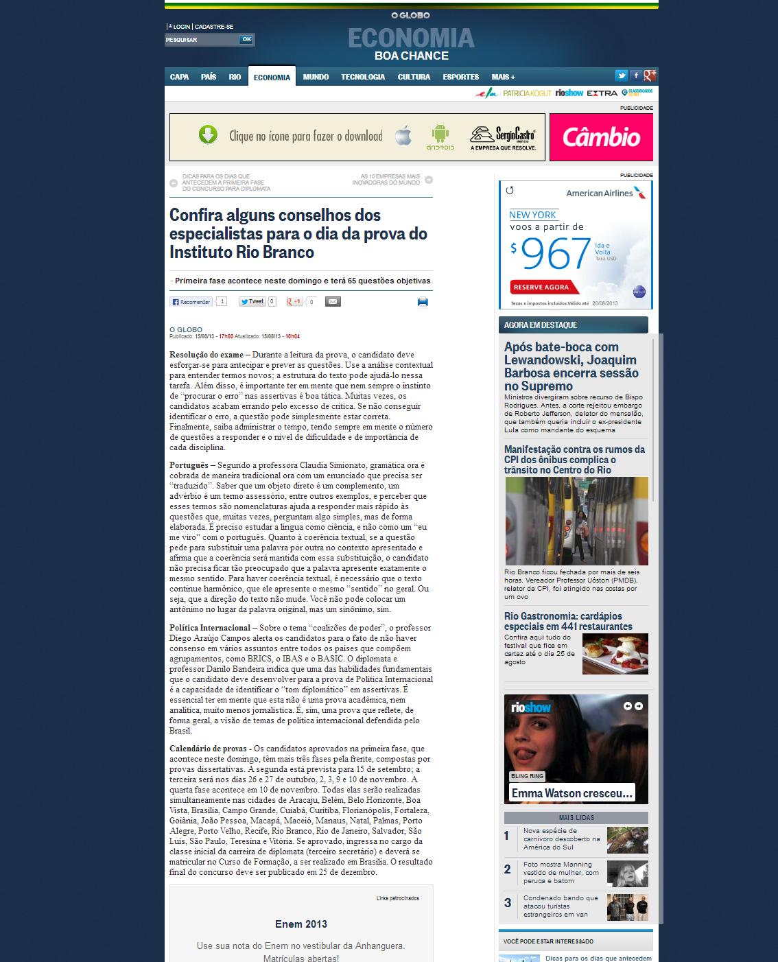 O Globo online materia coordenada 15 agosto 2013