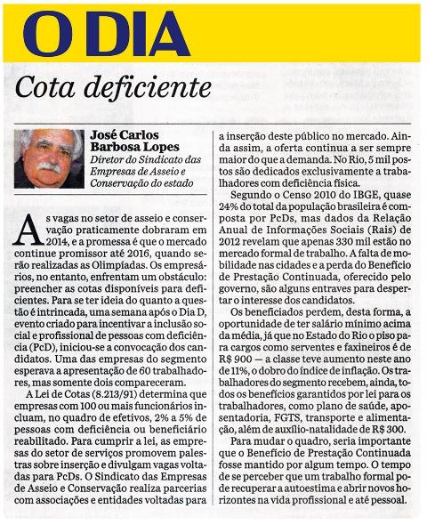 Artigo - O Dia - 24 Julho 2014 -Barbosa