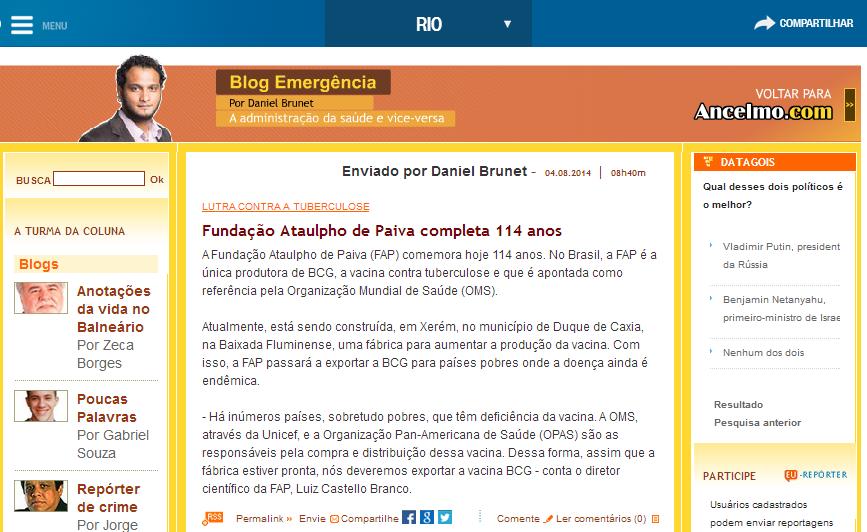 FAP no Globo Online - 04 - 08 - 2014