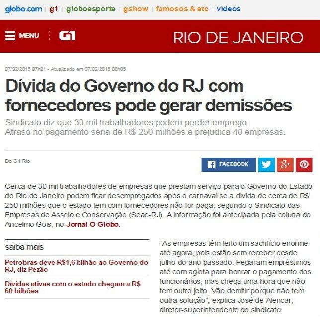 Matéria Dívida do Governo do Estado - G1